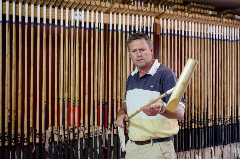 George Wood, manufacturing polo mallet featuring Cordall raw cotton tape